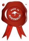 A wax seal with the text Made in Australia with kangaroo